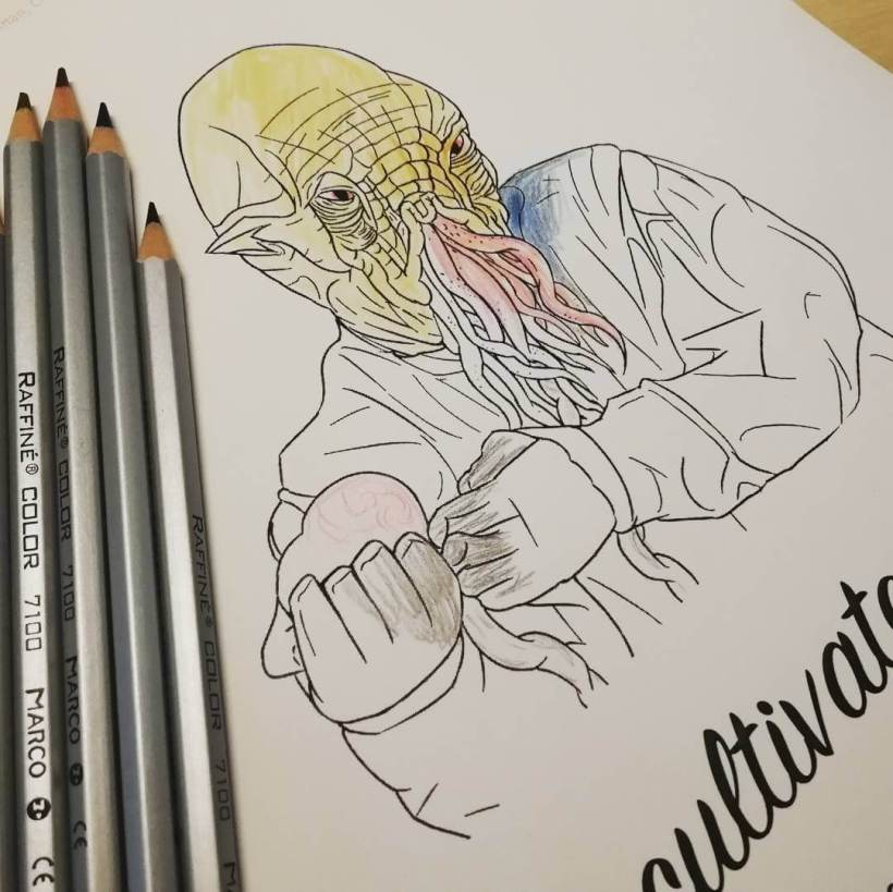 Half Coloured Uncultivated Ood With Pencils Printed Out From Page 1 Of The PDF 10 Colouring Pages Featuring 16 Doctor